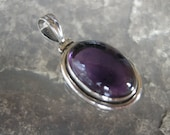 Sterling Silver Handmade Pendant Necklace w/ Amethyst-Unique & Beautiful Statement Piece