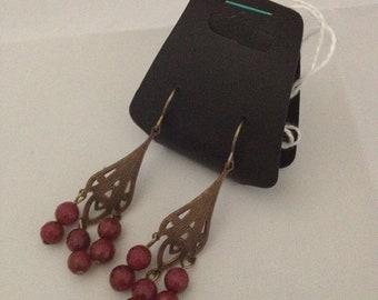 Pink Jade Vintaj Brass Earrings - Genuine Gemstone