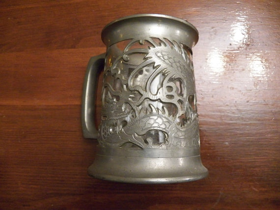 Pewter Dragon Glass Bottomed Beer Stein