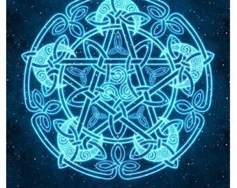 Celtic Moon Pentacle -  Pagan Wiccan Print - Brigid Ashwood