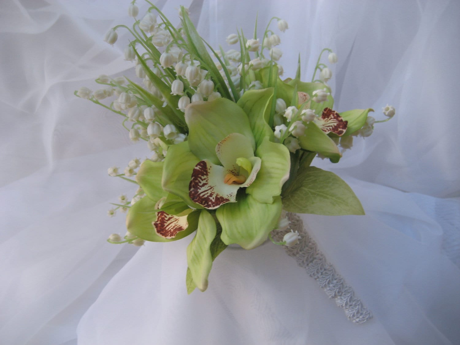 Lily Of The Valley Wedding Bouquet: Tropical Wedding Bouquet With Cymbidium Orchids And Lily Of