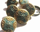 Rare vintage gold and turquoise metalllic buttons
