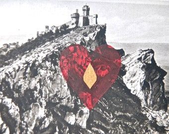 "Valentines Day Collage Postcard, ""Old Europe"" Series, 3, Heart  - Altered Art, 1932 Postcard - Collage Postcard"
