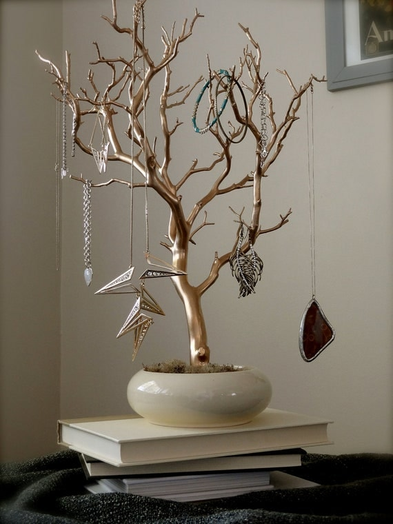 Jewelry holder organizer tree gold and cream 18 painted for Tree branch jewelry holder