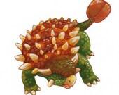 Original Ankylosaurus Colour Illustration