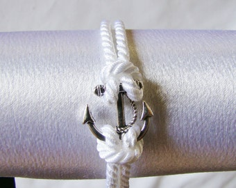 Nautical White Rope Anchor Bracelet
