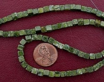 4mm cube gemstone rhyolite beads