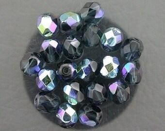 20 montana blue ab czech fire crystal faceted beads 6mm