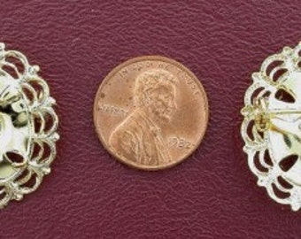 gold plated 18x13 filigree cabochon pin mounting