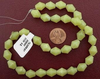 bicone gemstone olive jade beads