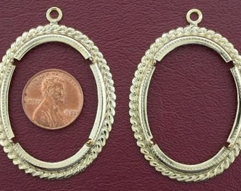 two gold plated 40x30  rope cabochon mounting