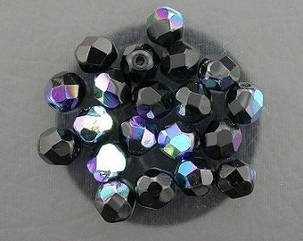 20  jet black ab czech fire crystal faceted beads 6mm