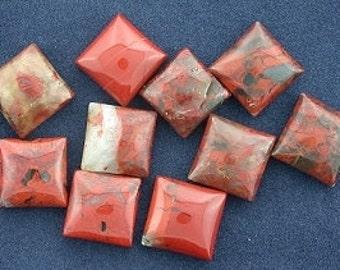 four - 10mm square poppy seed jasper cabochon gemstone
