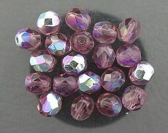 20 med. amethyst ab czech fire crystal facet beads 6mm