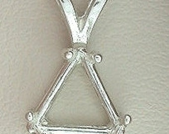 sterling silver 10mm trilliant  pendant mounting