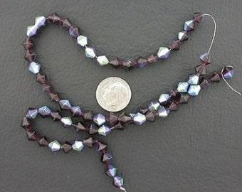 6mm amethyst bicone ab glass bead strand