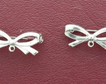 two one inch silverplated bow pins