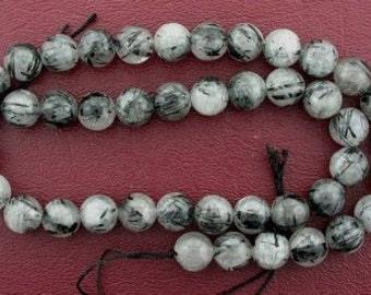 9.2mm to 10mm round rutilated quartz tourmaline bead strand gem