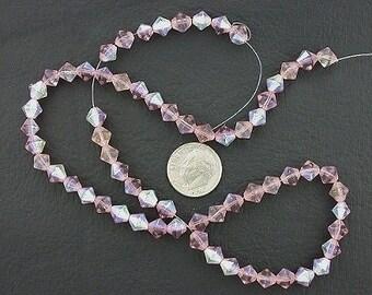 6mm rose bicone ab glass bead strand
