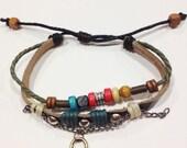 Heart Lock Beaded Leather Zen Bracelet