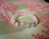 Rose Quartz and Rhinestone Bracelet, Handmade Pink Beaded Bracelet
