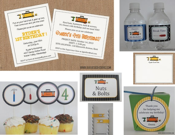 TOOLS or HANDYMAN Invitation - Full Service Printing and Coordinating Items Available