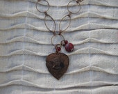 Indian Inscribed Copper Heart Pendant Necklace