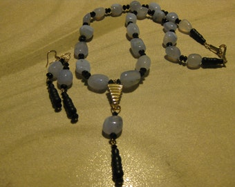 Blue Chalcedony Necklace Set