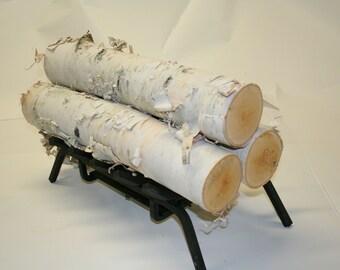 Set of 3 Large White Birch logs