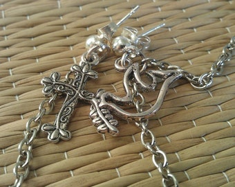 cartilage to lobe earring with silver chain and Peace, dove, and cross charms