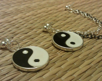 cartilage to lobe earring with Yin Yang charms