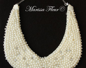 Wedding Bridal Pearl Necklace - Pearl Collar Necklace, Bridal Ivory Pearl And Crystal Necklace, Bridal Necklace, Wedding Jewelry
