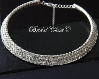 Bridal Necklace - Shiny Crystal Bridal Necklace, Bridal Clear Crystal Necklace, Bridal Necklace, Wedding Jewelry, Wedding Bridal Necklace