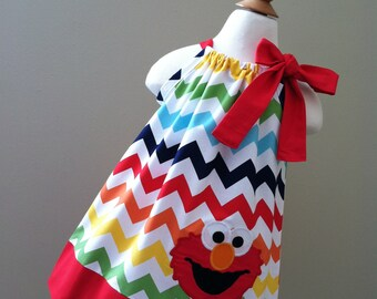 New & Unique Elmo in Rainbow Chevron Pillowcase Dress