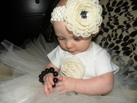 Little Girl Ivory Lace flower 3 1/2 inch with rhinestone on crochet headband