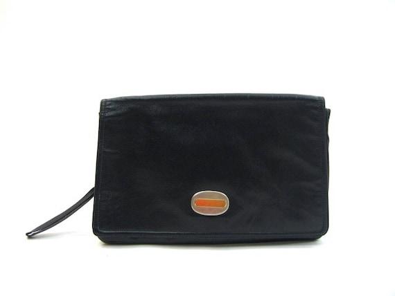 SALE navy blue vintage 70s faux leather clutch purse