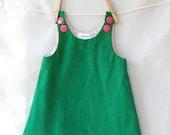 1952 emerald corduroy dress, 0-6 months