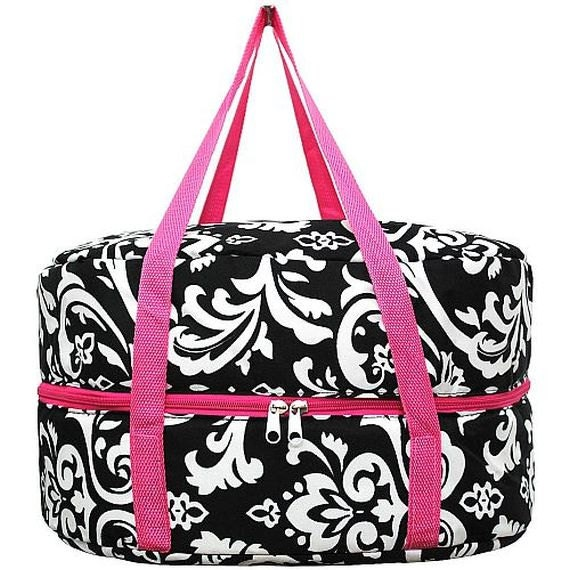 hot pink trim damask crockpot slow cooker carrier with free