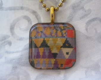 Klimt inspired purple mountains - glass pendant and chain