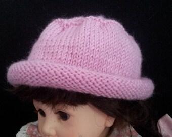 Baby girl pink hat - newborn beanie - handknit handmade infant hat - pink wool baby hat