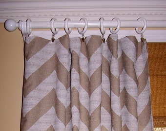 "Window Treatment.Burlap.Chevron Curtains. Burlap Curtains.Premier Print Fabric. Denton.Pair Drapes.Valance.24"" or 52"" Wide.63.84.96.108."