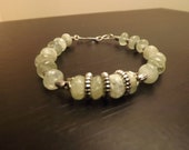 Genuine Green Aquamarine Gemstone Bracelet in Sterling SP and Tibetan Silver