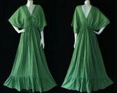 XS to 7X Made to Order Dress Hippie Gypsy Bohemian SOFT GREEN Cotton Short Sleeve Kimono Maxi Dress - BH016