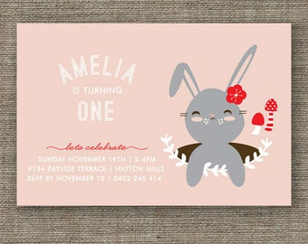 Bunny Rabbit Woodland Party Invitation for kids party, 1st 2nd 3rd 4th 5th girl birthday or Easter - pdf printable - pink, purple or green