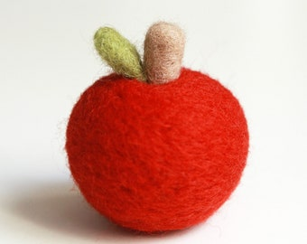 Needle Felted Apple Toy for Kid Home Decor Holiday Ornaments - Felted Apple - Red Apple - Apple Decoration - Home Decoration - READY TO SHIP