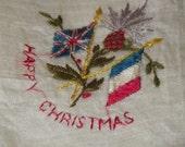 WW1 Silk Lace British/French Flag Allies Happy Christmas Souvenir Handkerchief/Hankie Antique Vintage Textiles