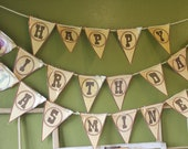 Personalized Rustic Western Themed Happy Birthday Banner