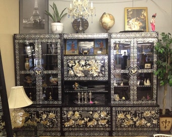Mother Of Pearl Inlay Amp Abolone Black Laquer Shelving