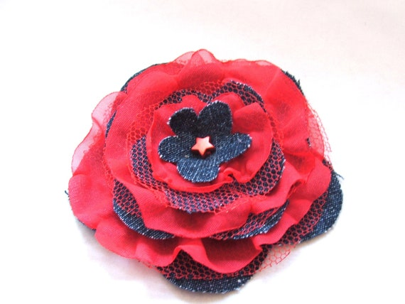 Flower Fabric Brooch Pin in red and blue color