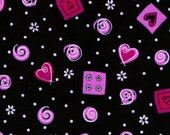 Pink Hearts and Swirls Fabric: Quilting Cotton Fat Quarter